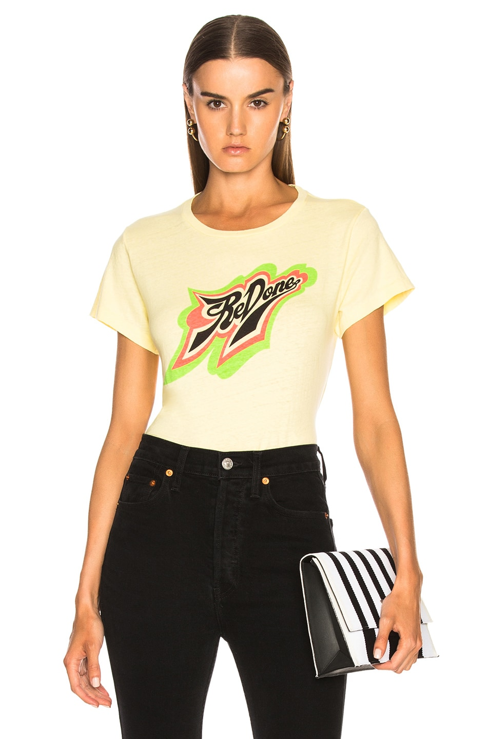 Image 1 of RE/DONE ORIGINALS Classic Neon Logo Tee in Sunfaded Yellow