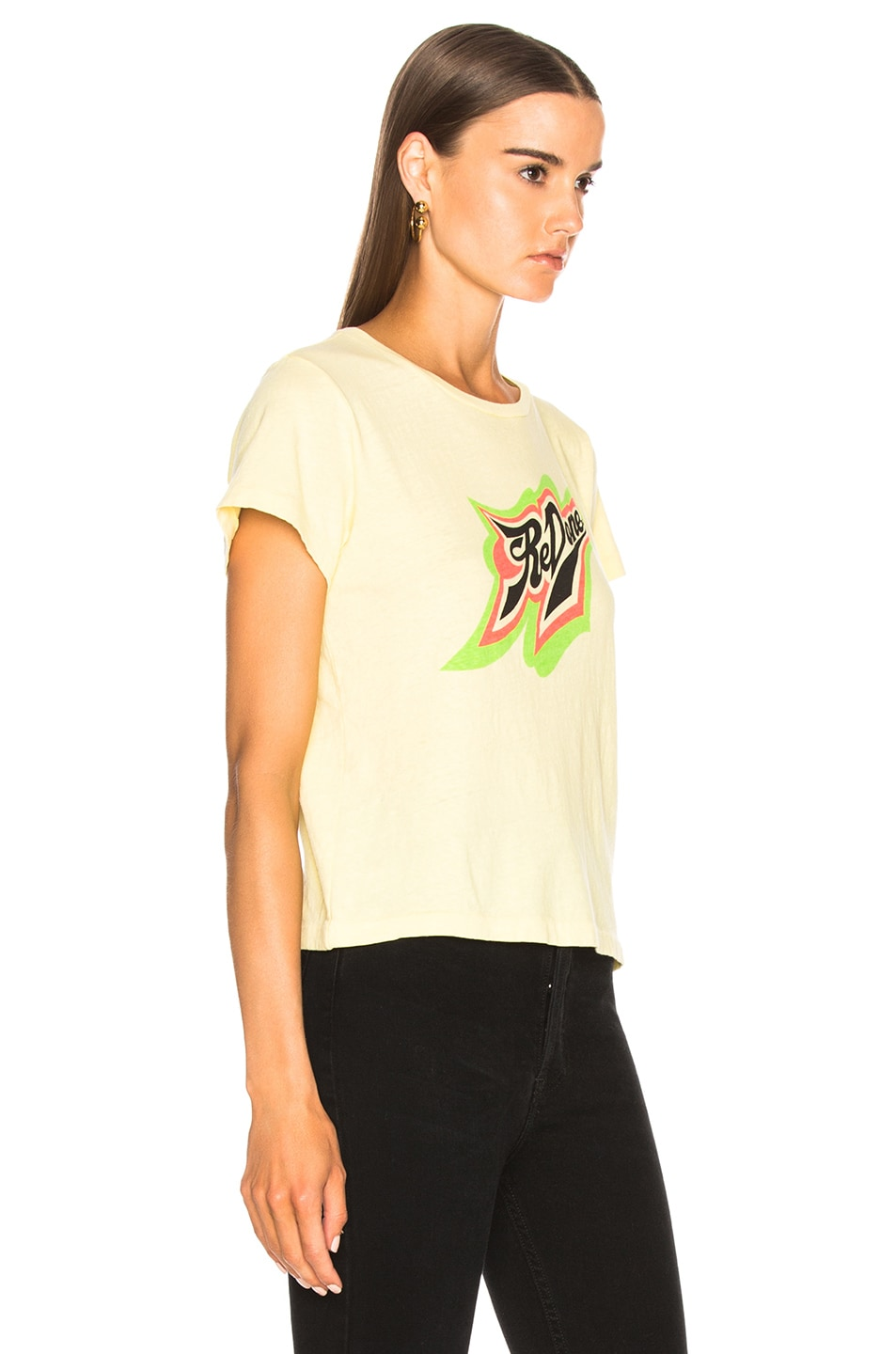 Image 2 of RE/DONE ORIGINALS Classic Neon Logo Tee in Sunfaded Yellow
