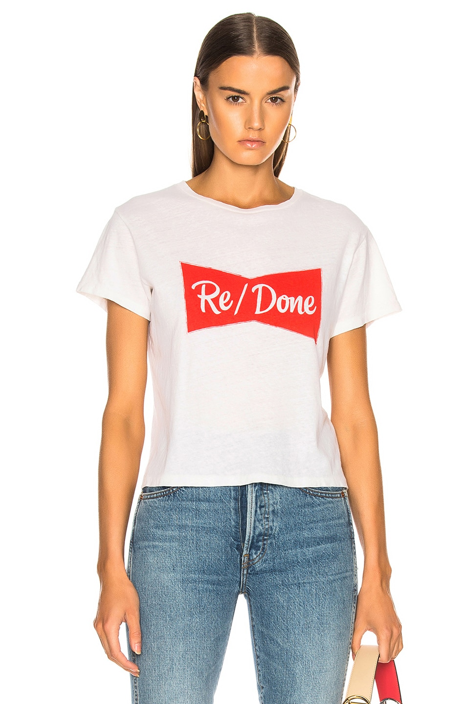 Image 1 of RE/DONE Ribbon Graphic Classic Tee in Vintage White