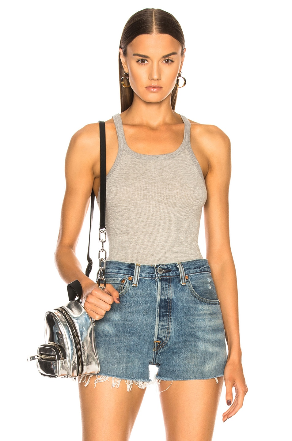 Image 1 of RE/DONE Ribbed Tank in Grey