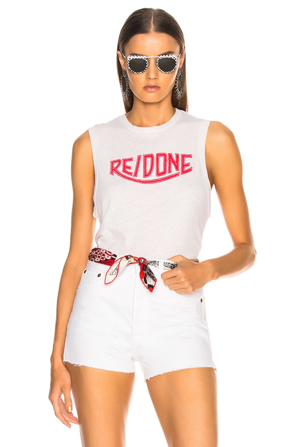 Image 1 of RE/DONE Muscle Tank Red Triumph Logo in Vintage White