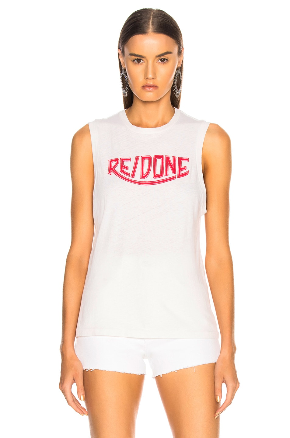 Image 2 of RE/DONE Muscle Tank Red Triumph Logo in Vintage White