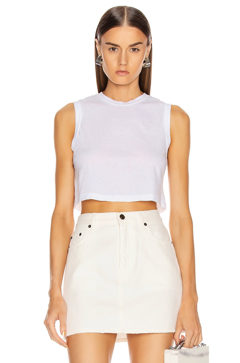 Image 1 of RE/DONE The 70's Cropped Muscle Tank in Optic White