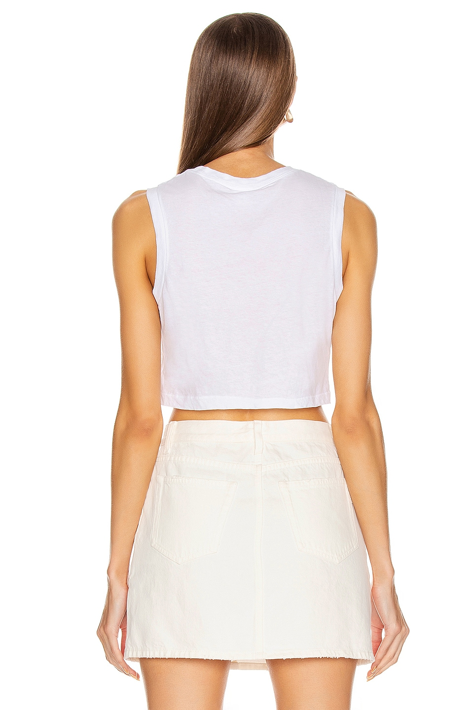 Image 3 of RE/DONE The 70's Cropped Muscle Tank in Optic White