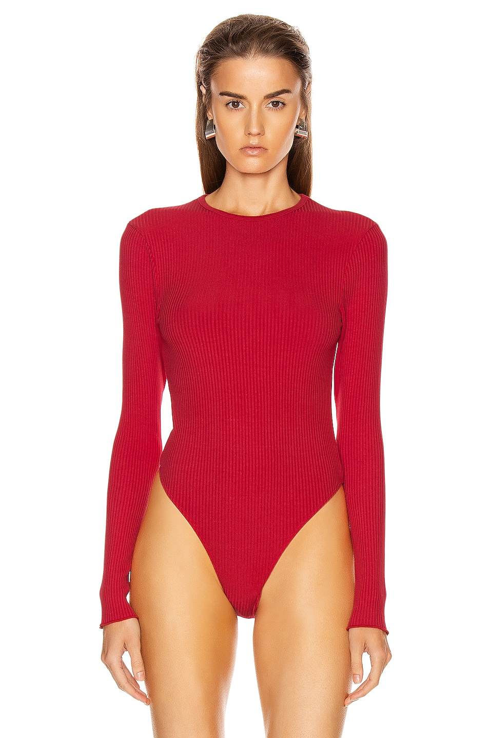 Image 2 of RE/DONE 60's Long Sleeve Bodysuit in Red Orange