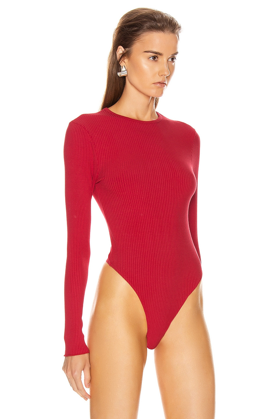 Image 3 of RE/DONE 60's Long Sleeve Bodysuit in Red Orange