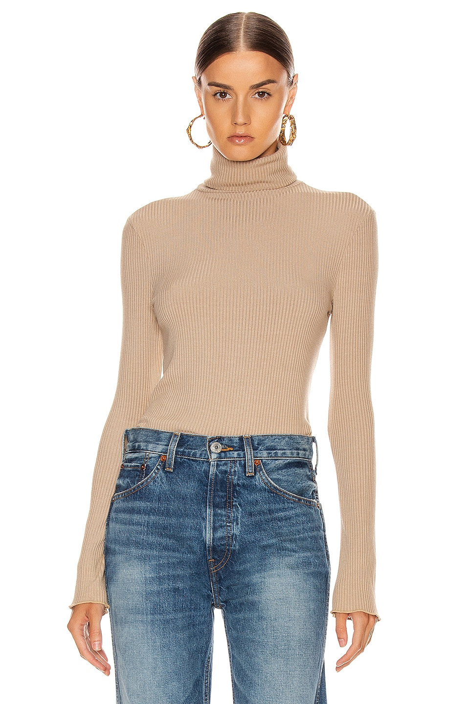 Image 1 of RE/DONE 60's Long Sleeve Turtleneck in Sand