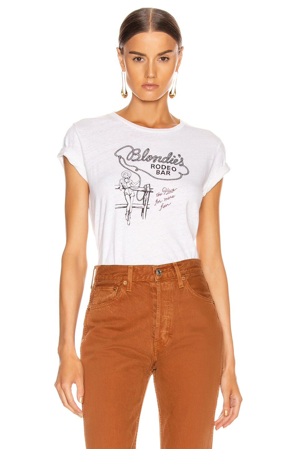 Image 1 of RE/DONE Classic Tee Blondies Rodeo in Vintage White