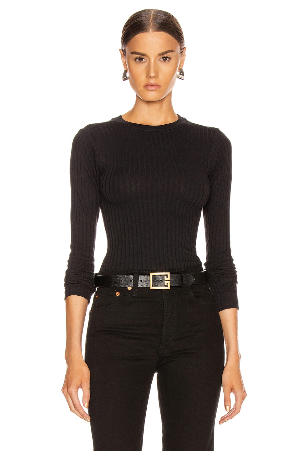 Image 1 of RE/DONE Ribbed Long Sleeve Bodysuit in Black