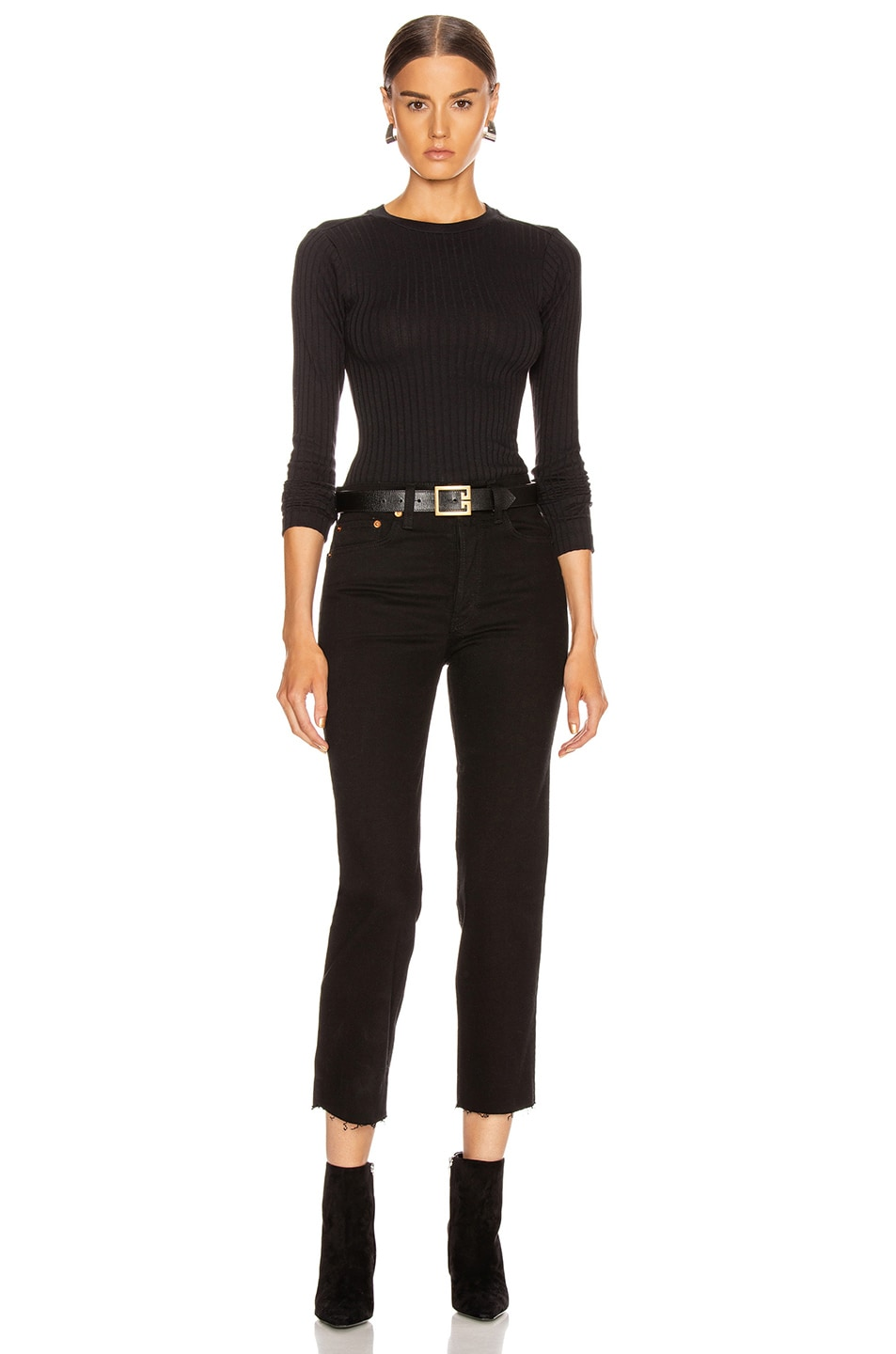 Image 5 of RE/DONE Ribbed Long Sleeve Bodysuit in Black