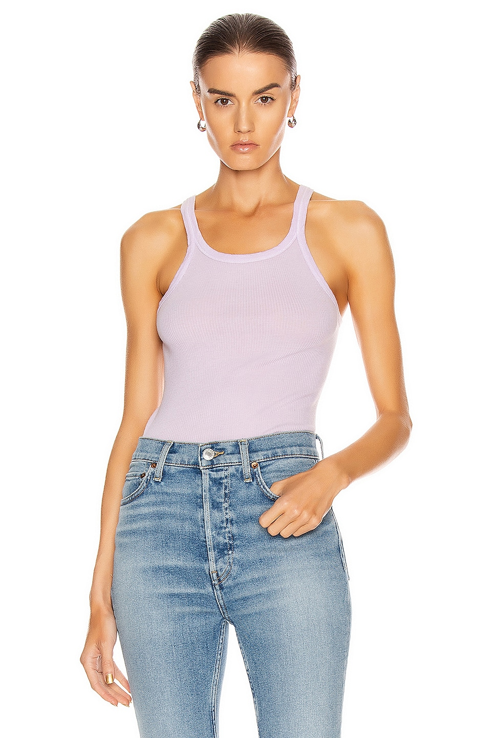 Image 1 of RE/DONE Ribbed Tank in Lilac