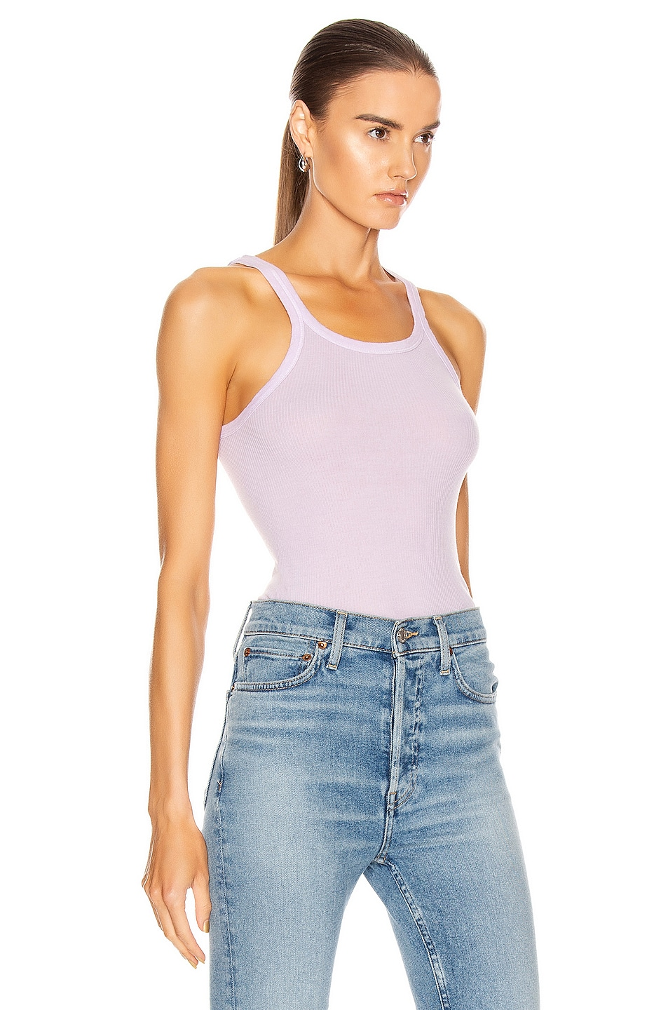 Image 2 of RE/DONE Ribbed Tank in Lilac