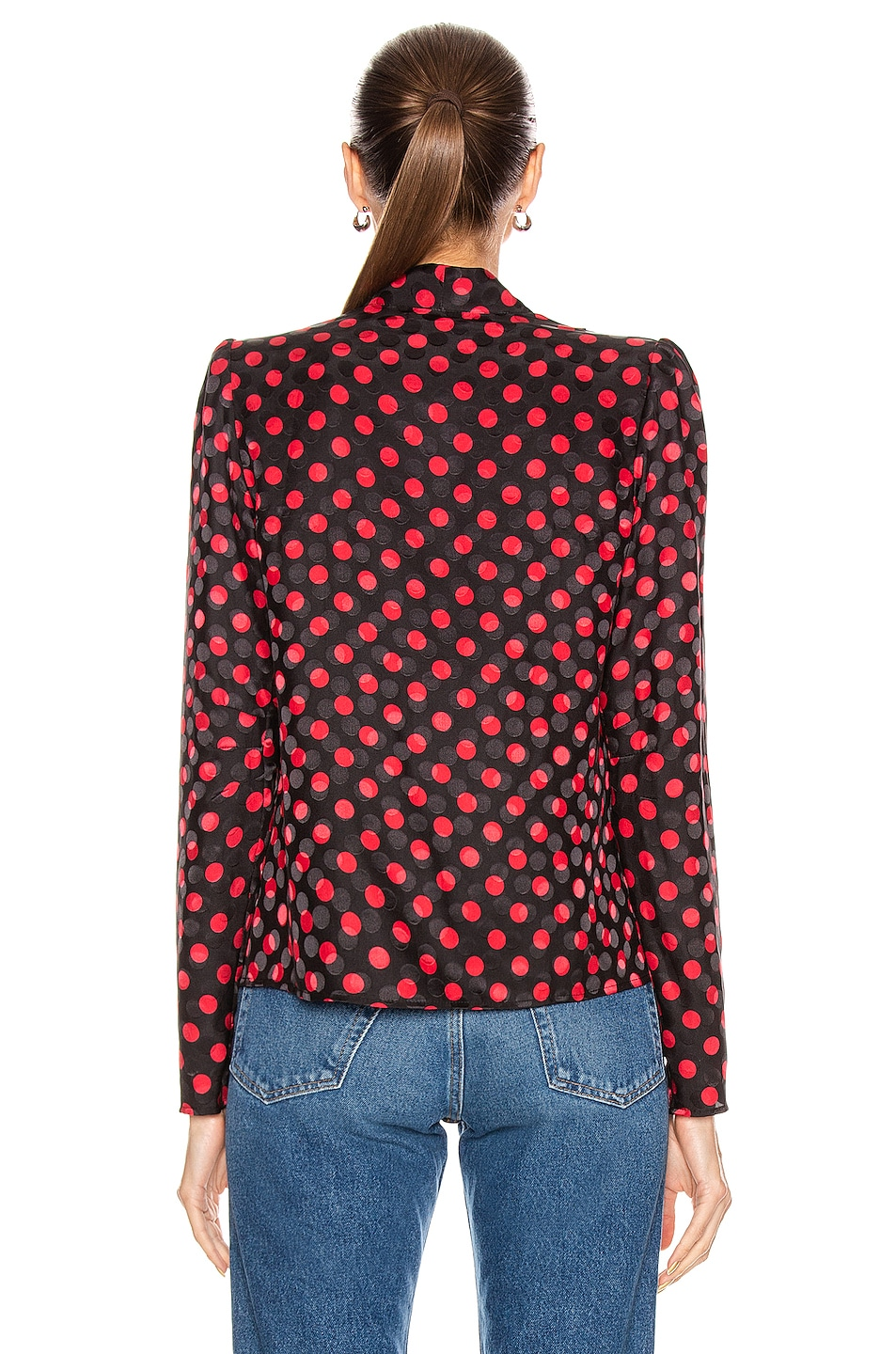 Image 3 of RE/DONE 40's Tailored Blouse in Red Polka Dot