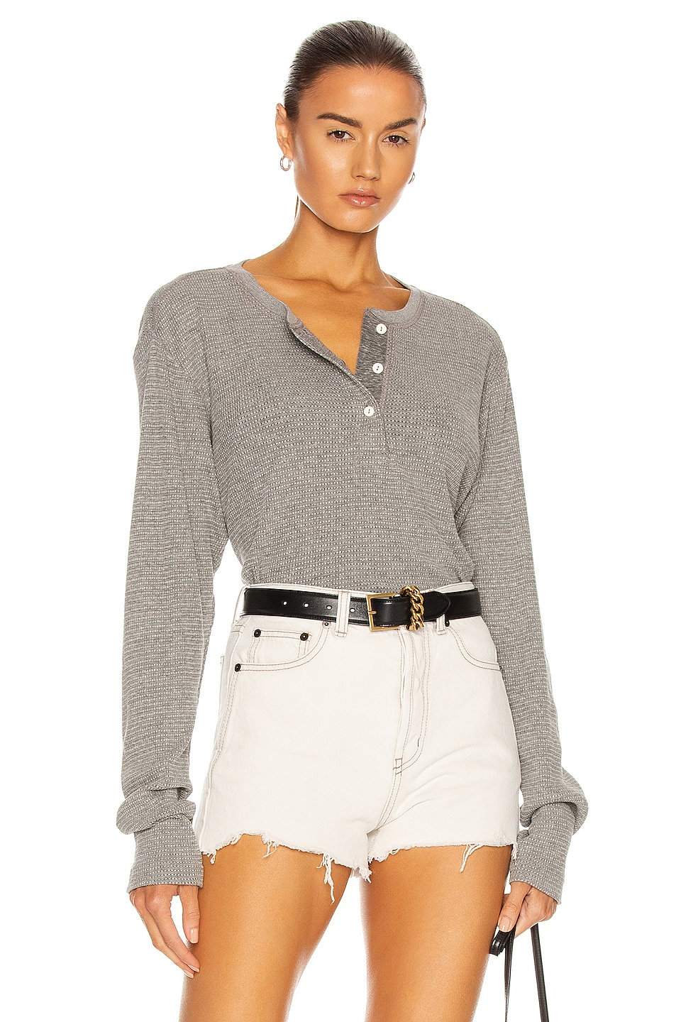 Image 1 of RE/DONE Henley Thermal Long Sleeve Top in Heather Grey