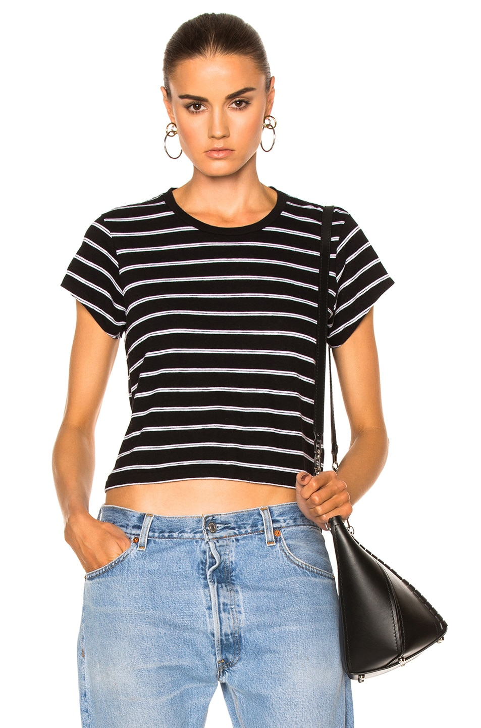 Image 1 of RE/DONE Stripe Boxy Tee in Black