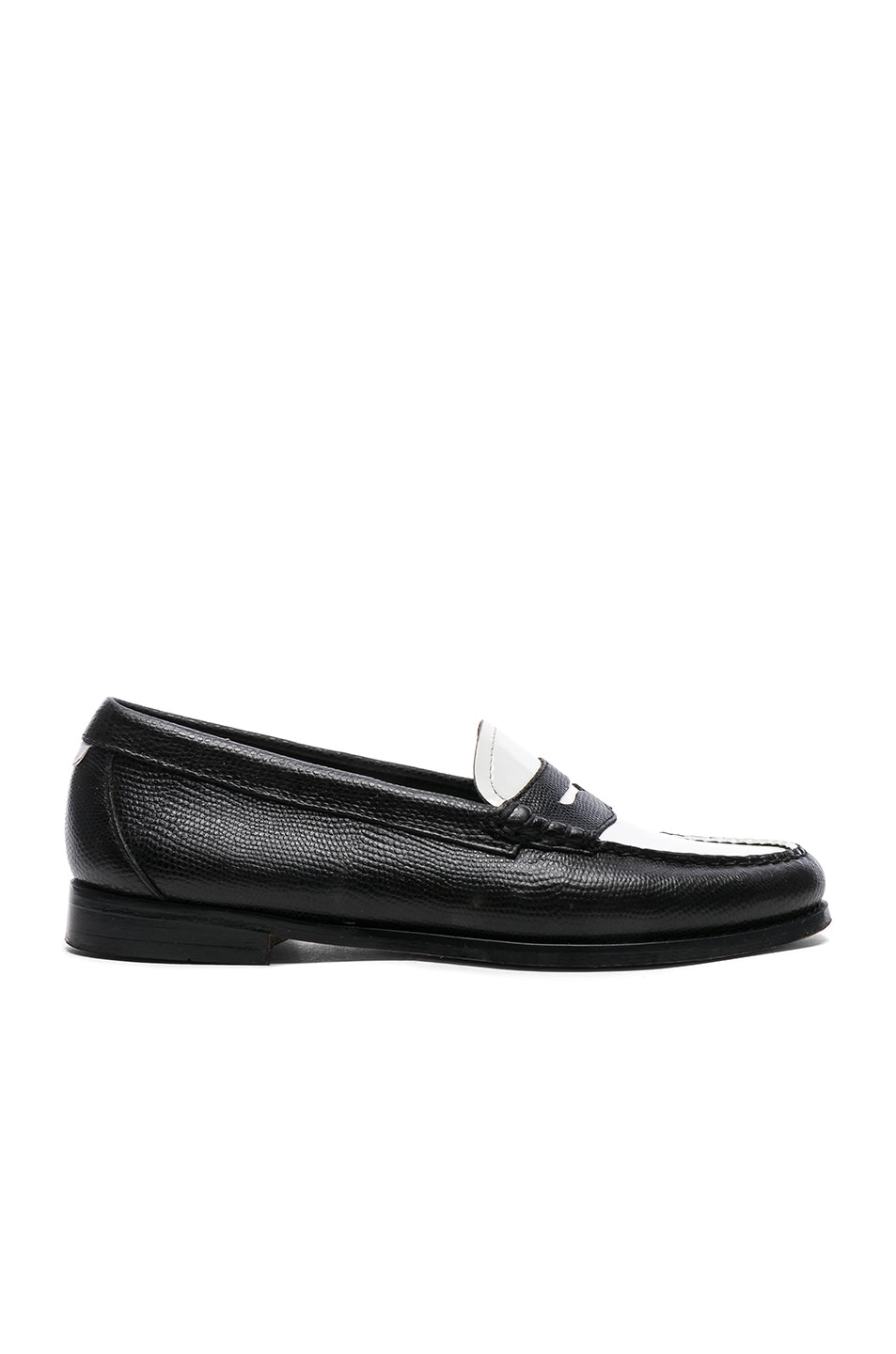 Image 1 of RE/DONE x G.H. Bass & Co. Whitney Loafer in White Patent Plug and Black Lizard Emboss