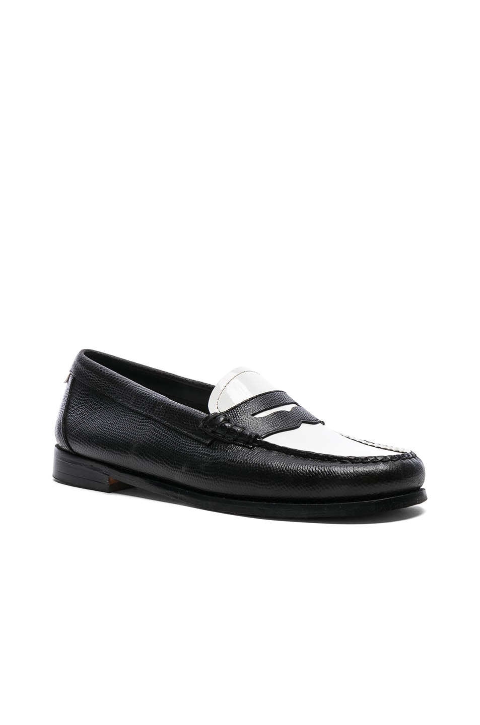 Image 2 of RE/DONE x G.H. Bass & Co. Whitney Loafer in White Patent Plug and Black Lizard Emboss