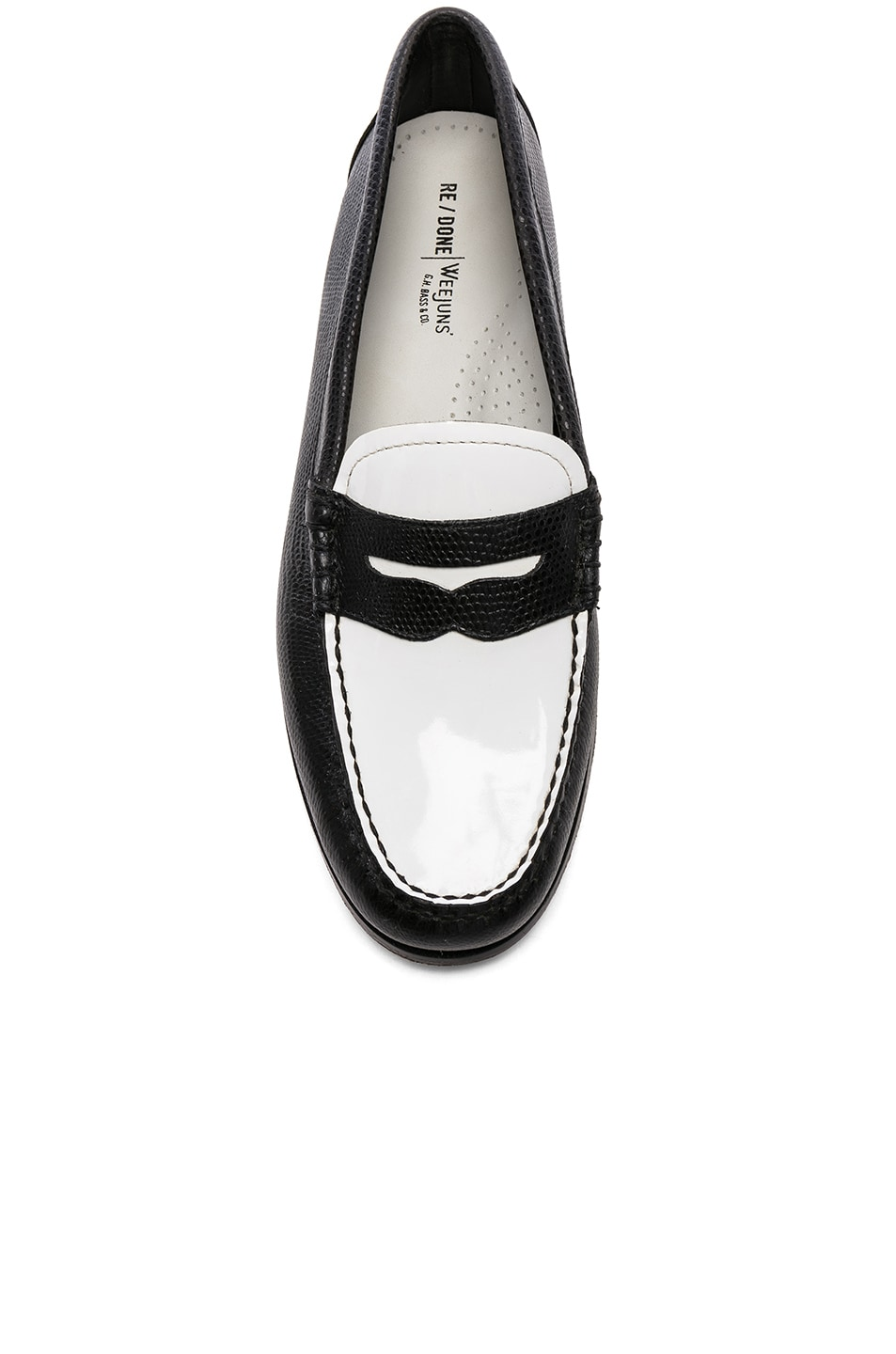 Image 4 of RE/DONE x G.H. Bass & Co. Whitney Loafer in White Patent Plug and Black Lizard Emboss