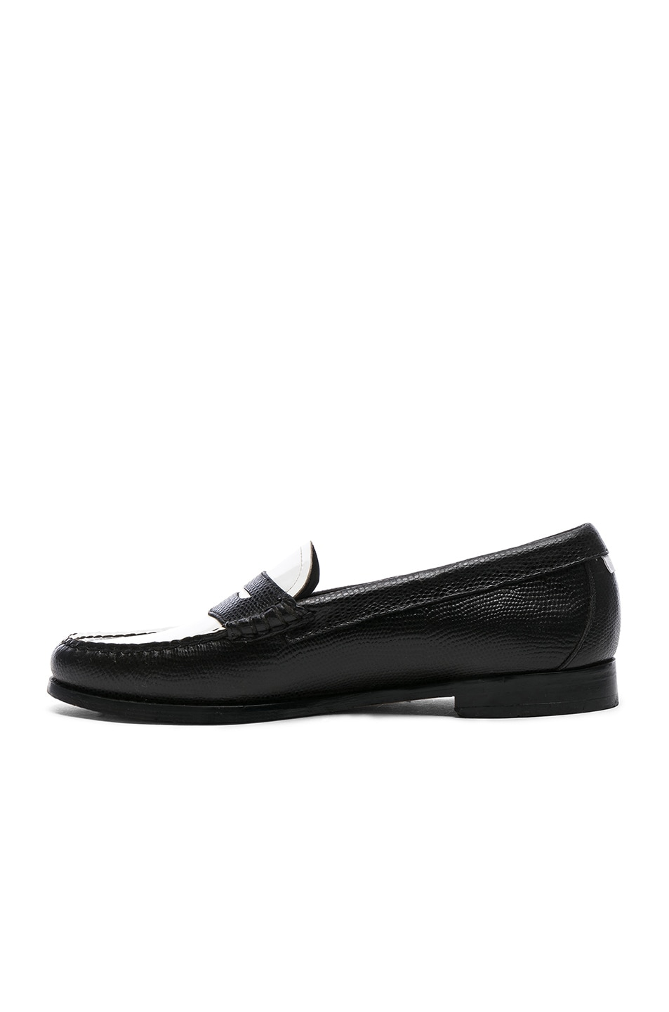 Image 5 of RE/DONE x G.H. Bass & Co. Whitney Loafer in White Patent Plug and Black Lizard Emboss