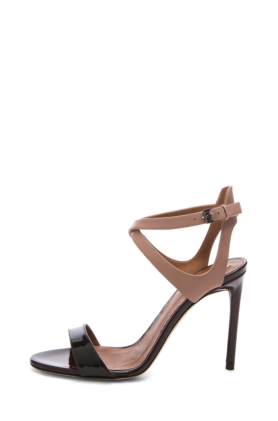 Image 1 of Reed Krakoff Glossy Leather Ankle Harness Sandals in Black & Nude