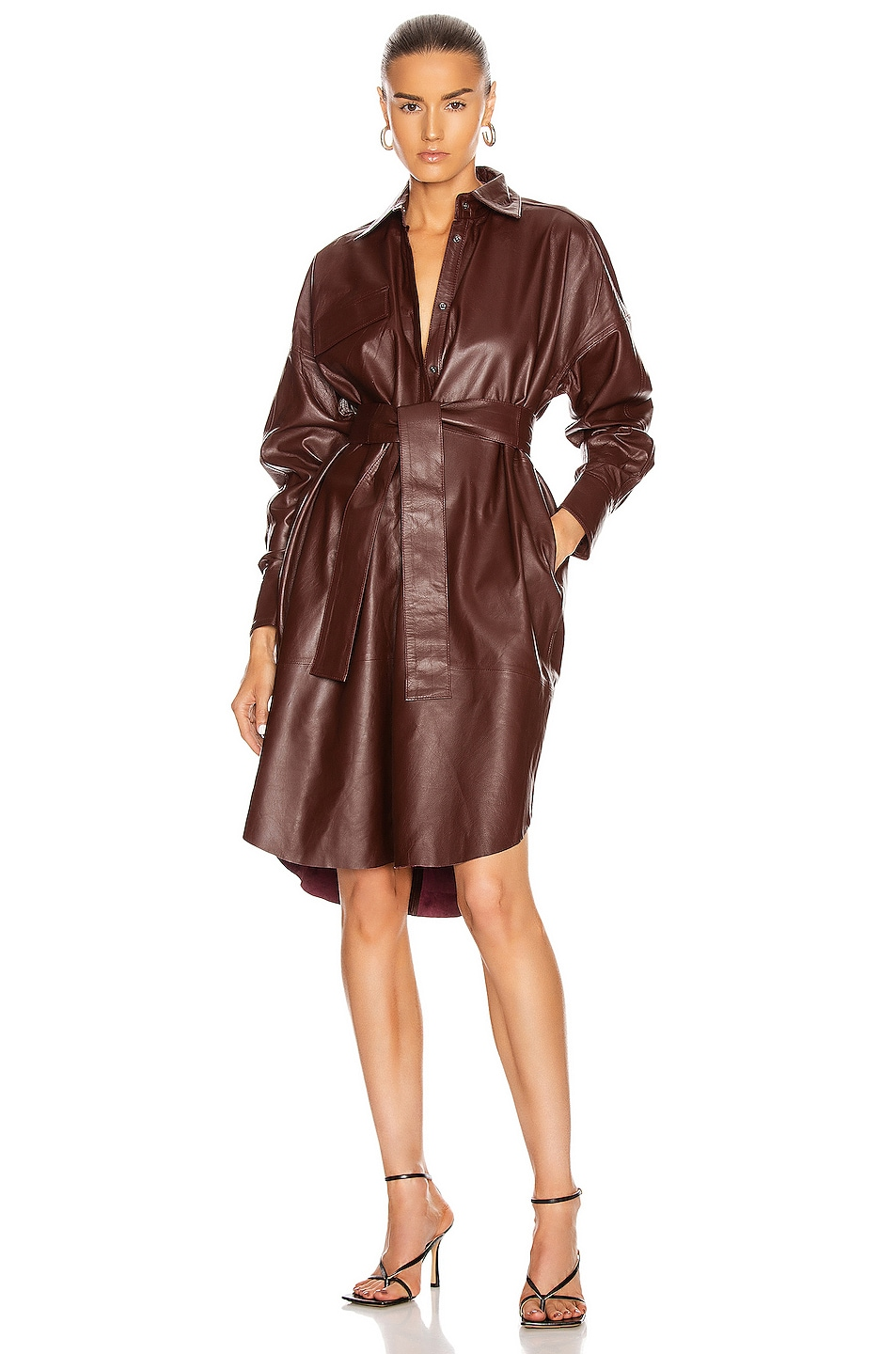 Image 1 of REMAIN Bologna Leather Dress in Port Royale