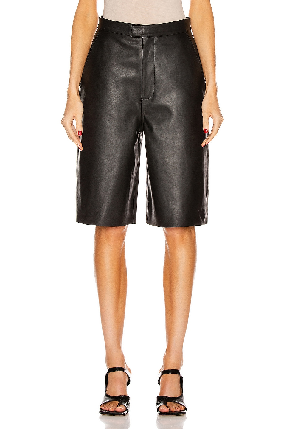 Image 1 of REMAIN Manu Leather Short in Pirate Black