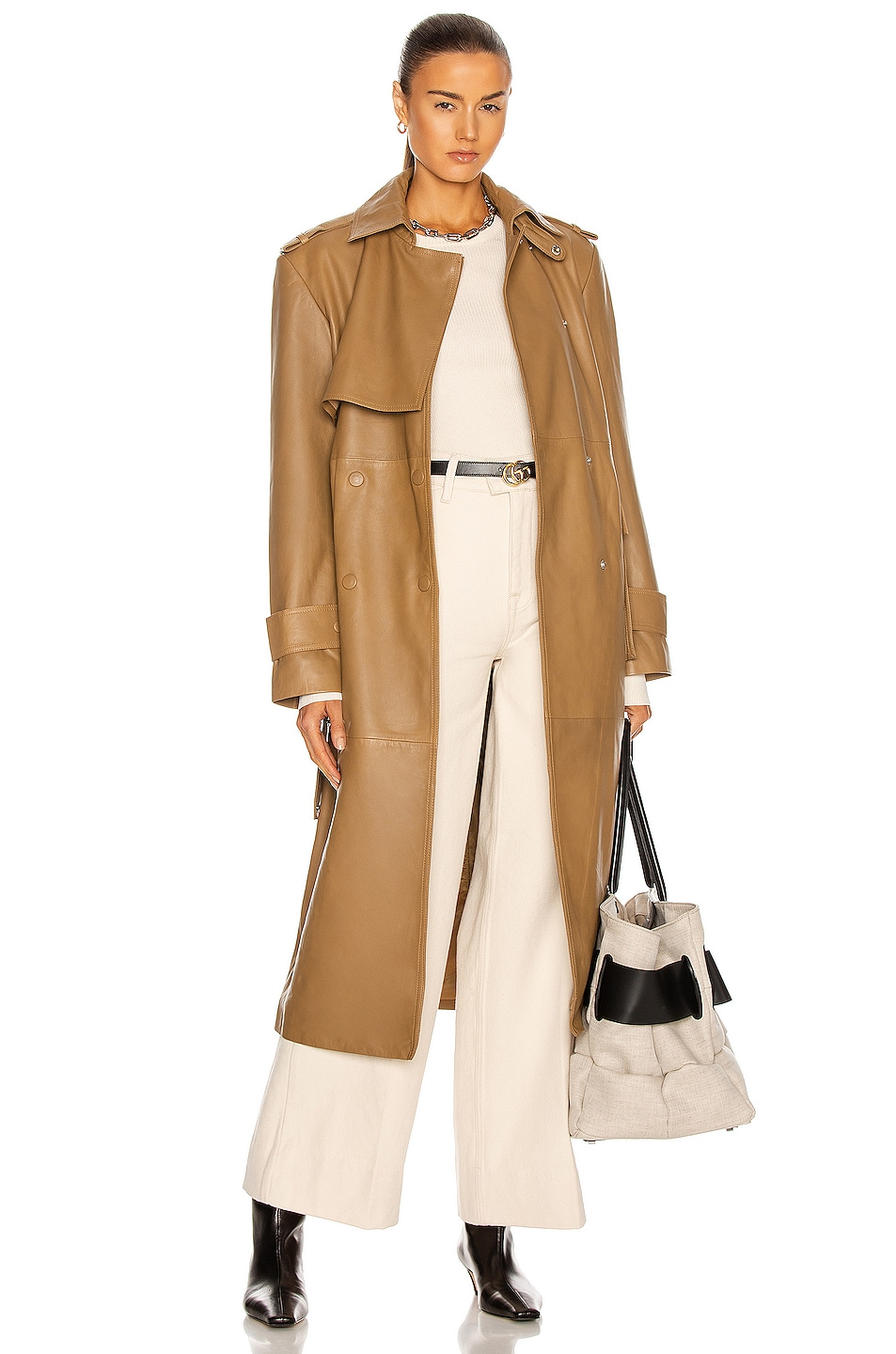 Image 1 of REMAIN Pirello Leather Coat in Camel