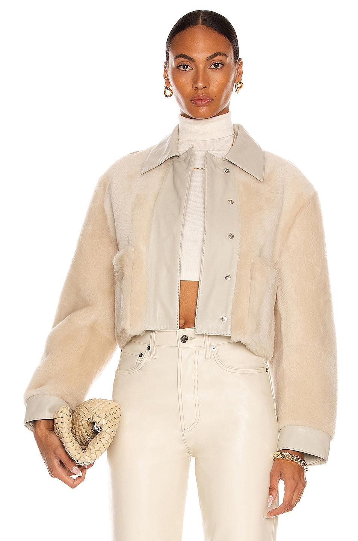 Image 1 of REMAIN Amara Shearling Jacket in Wood Ash