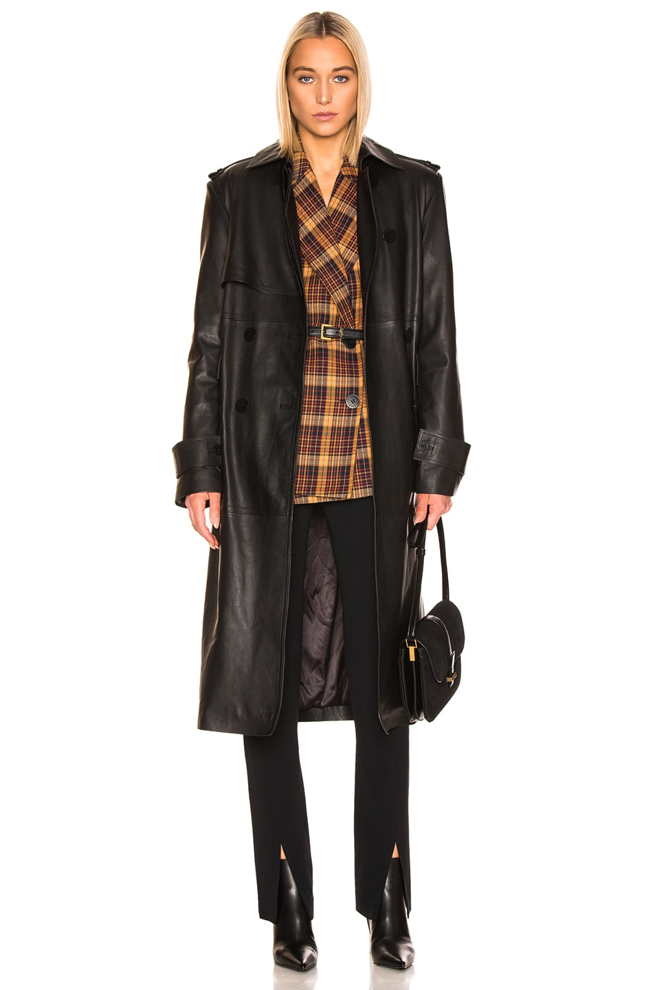 Image 1 of REMAIN Pirello Leather Trench Coat in Black