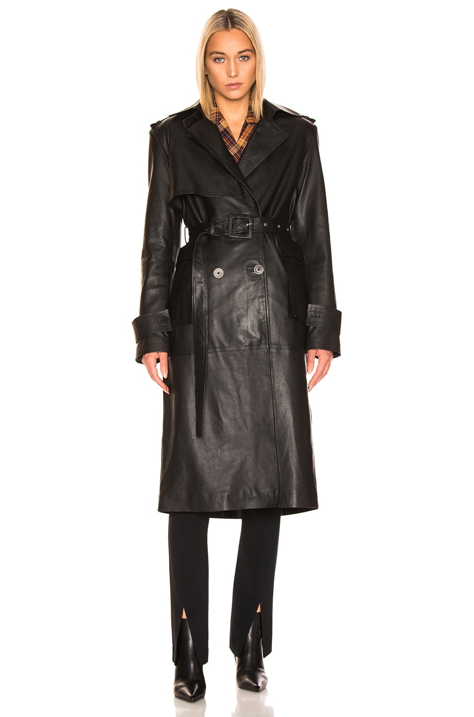 Image 2 of REMAIN Pirello Leather Trench Coat in Black