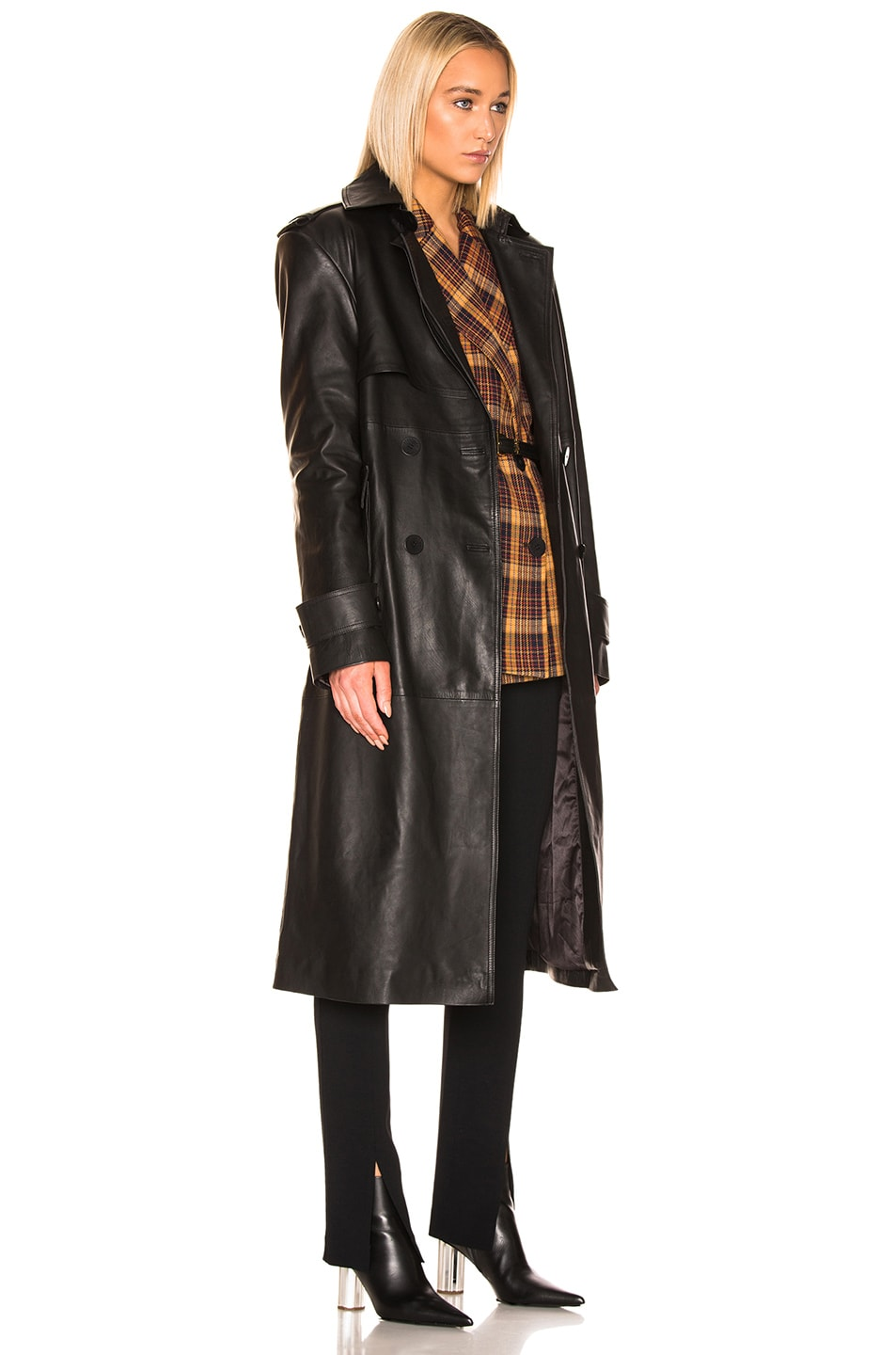 Image 3 of REMAIN Pirello Leather Trench Coat in Black