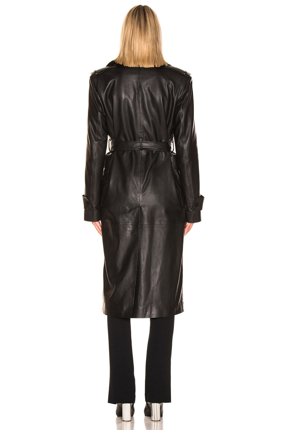Image 4 of REMAIN Pirello Leather Trench Coat in Black