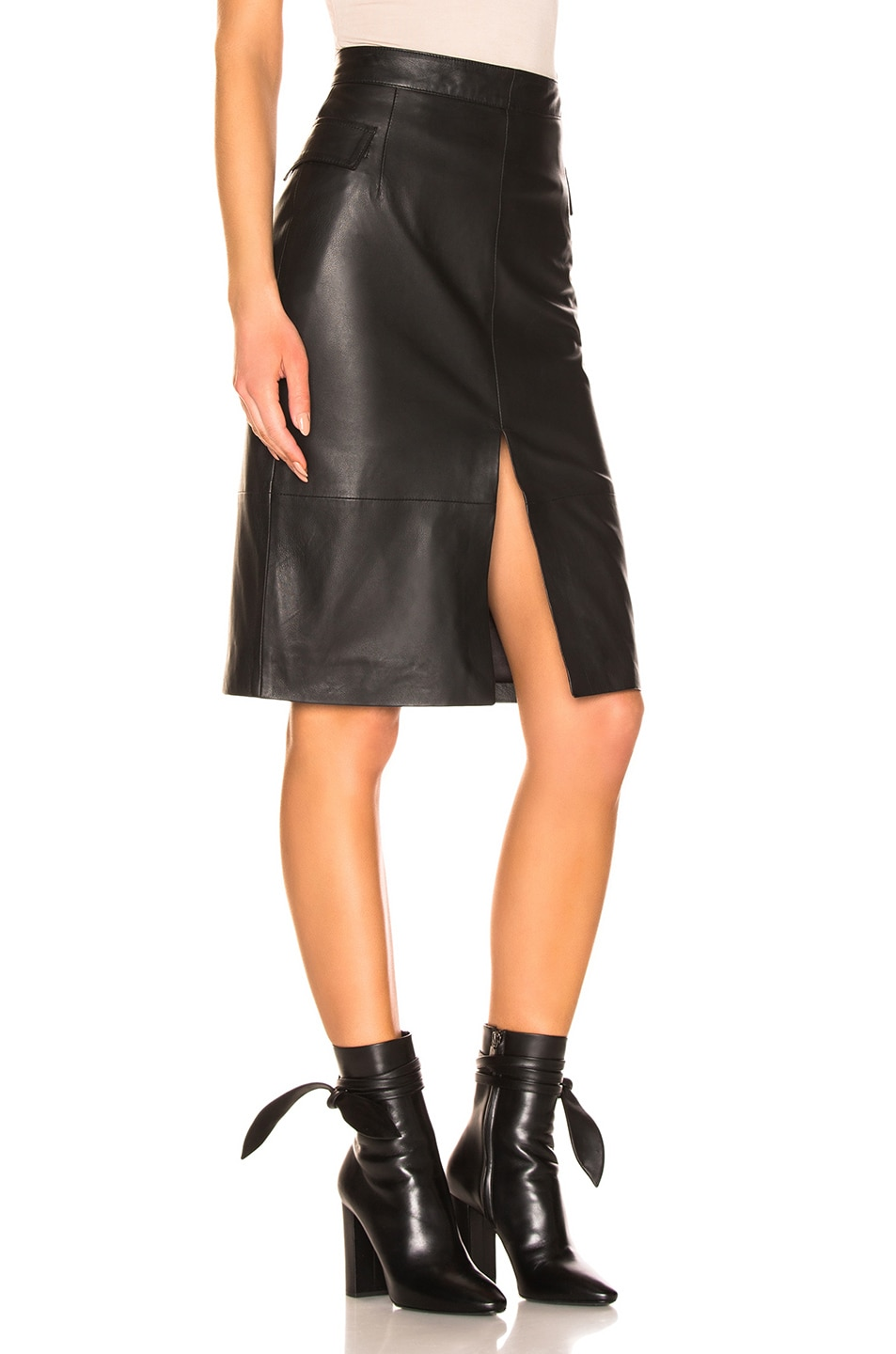 Image 2 of REMAIN Maine Knee Leather Skirt in Black