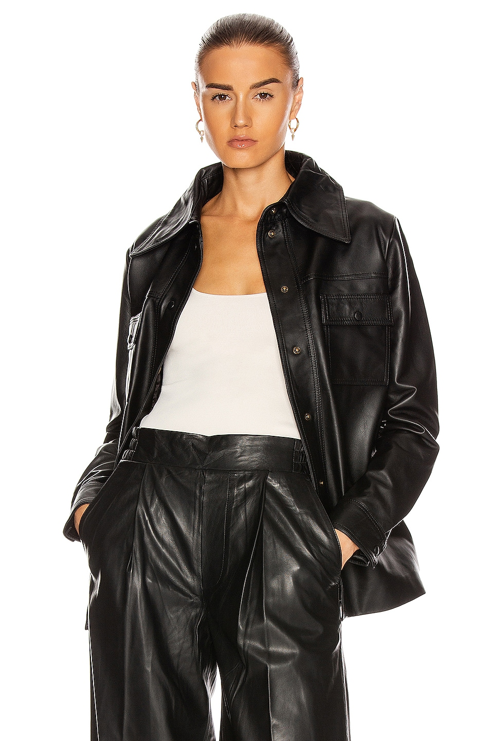 Image 1 of REMAIN Rosalee Long Sleeve Leather Shirt in Black