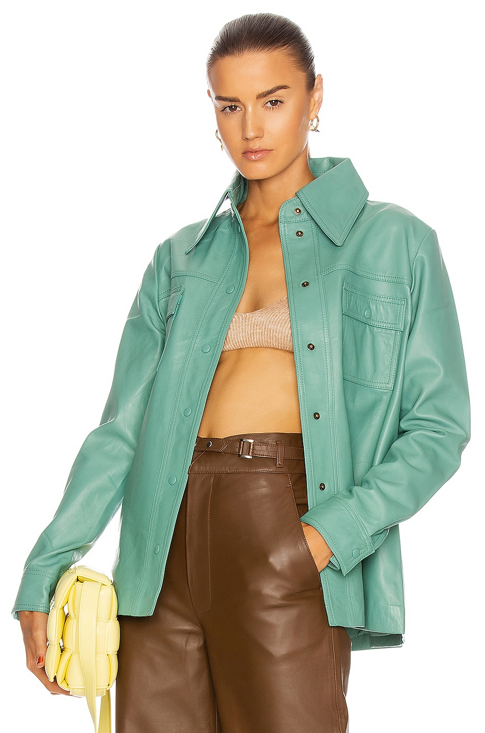 Image 1 of REMAIN Rosalee Long Sleeve Leather Shirt in Creme De Menthe