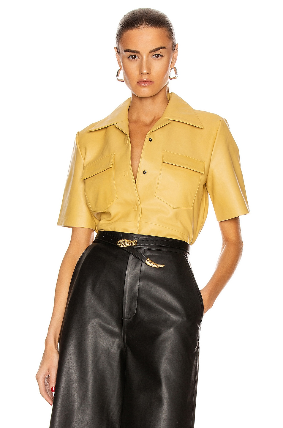 Image 1 of REMAIN Siena Short Sleeve Leather Top in Pala Banana
