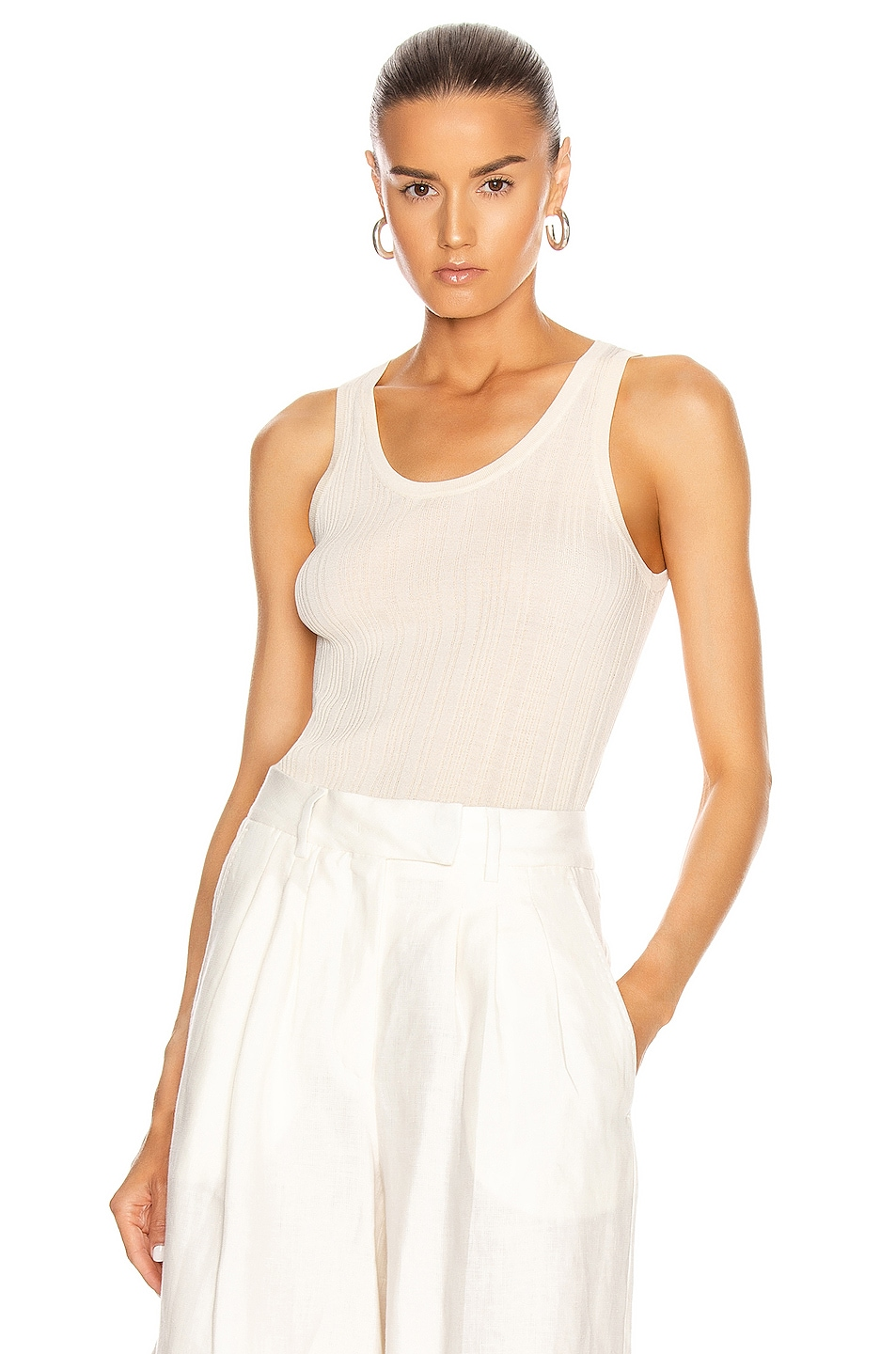 Image 1 of REMAIN Gere Sleeveless Knit Top in White Asparagus