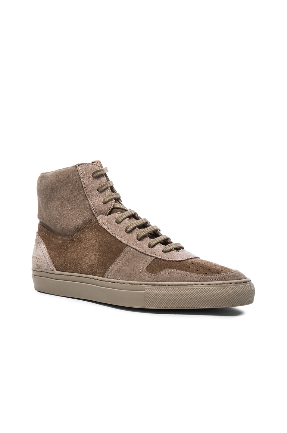 554e3bf27e8f5b Image 1 of Robert Geller x Common Projects Suede High Top Sneakers in Taupe