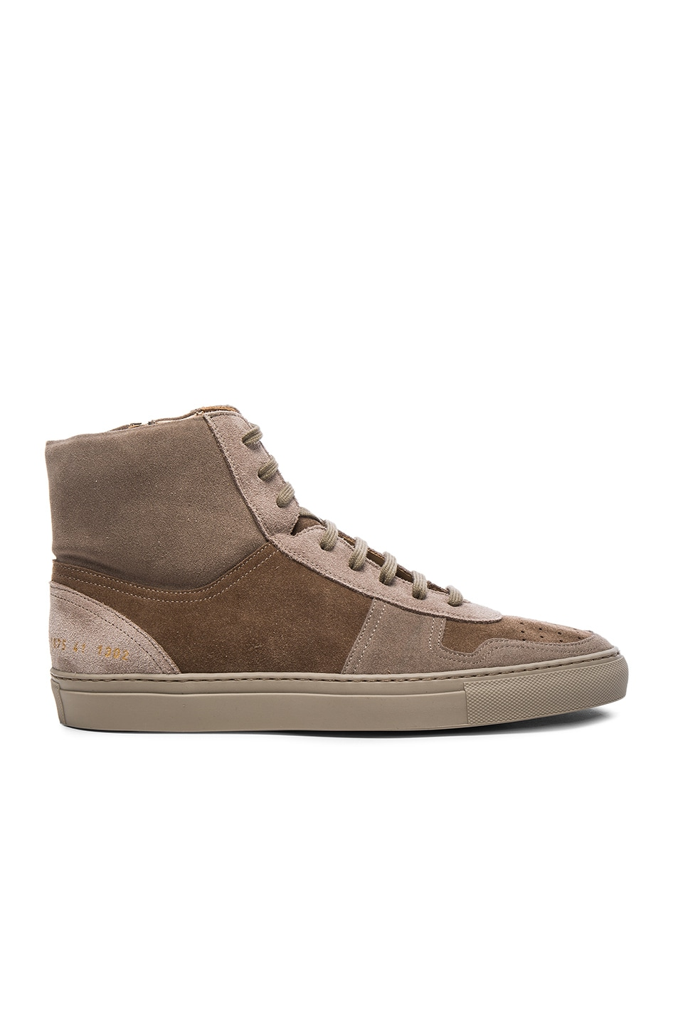 268f2b811f93a9 Image 2 of Robert Geller x Common Projects Suede High Top Sneakers in Taupe