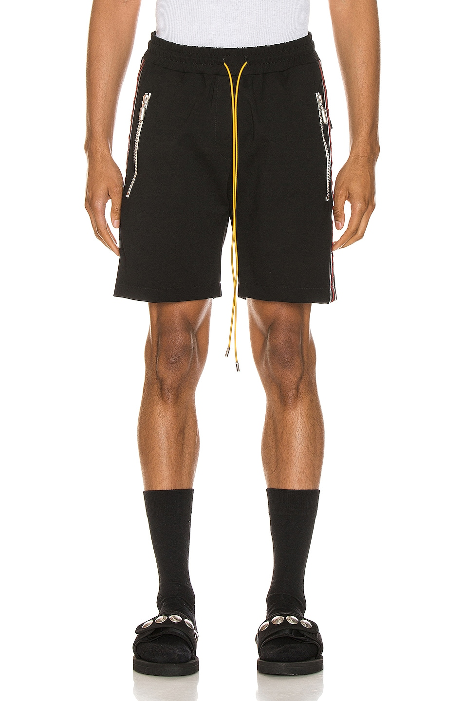 Image 2 of Rhude Traxedo Shorts in Black & Red