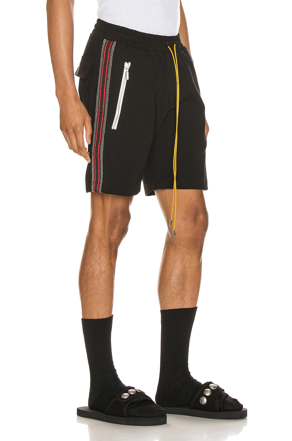 Image 3 of Rhude Traxedo Shorts in Black & Red