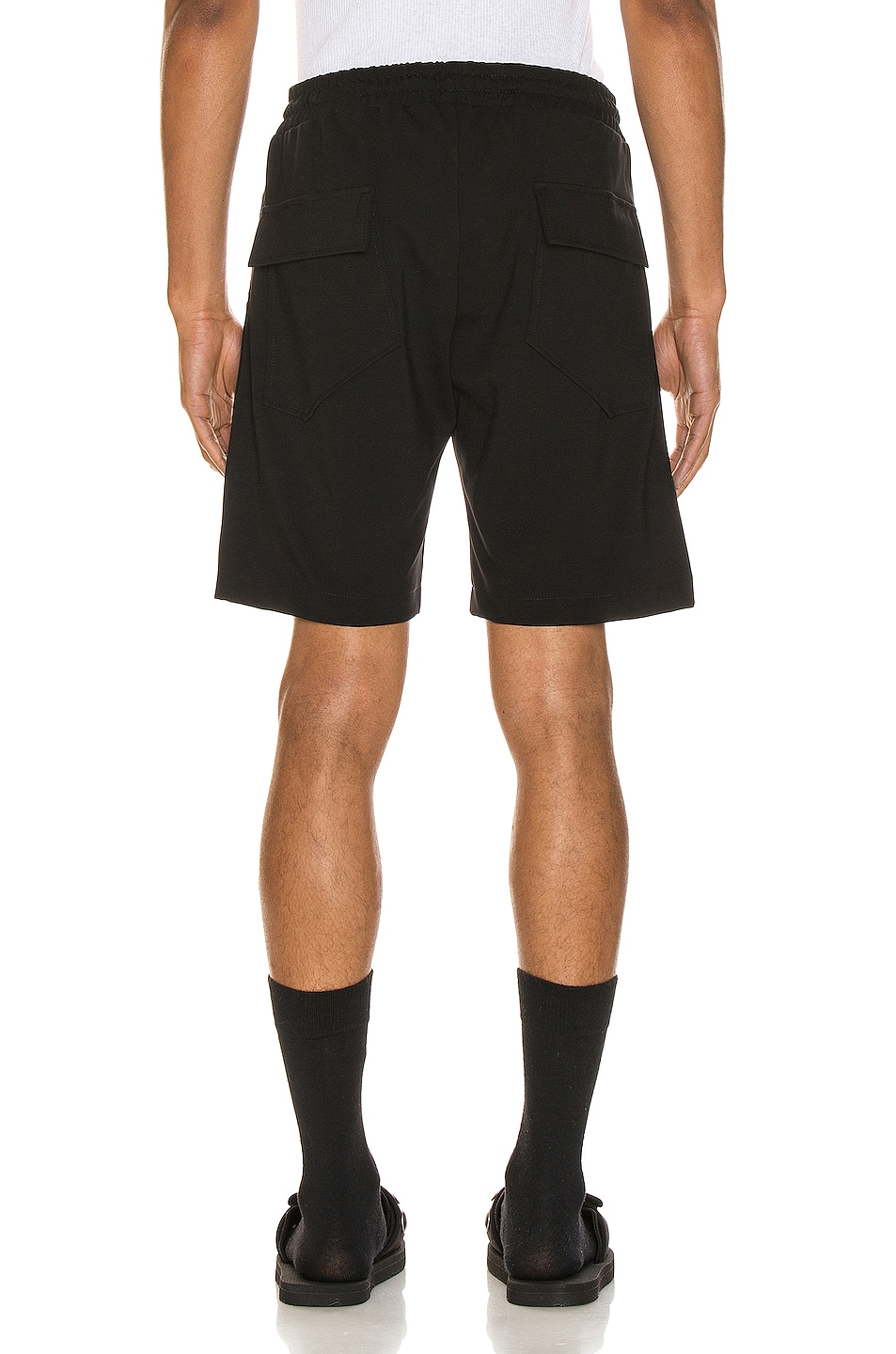 Image 4 of Rhude Traxedo Shorts in Black & Red