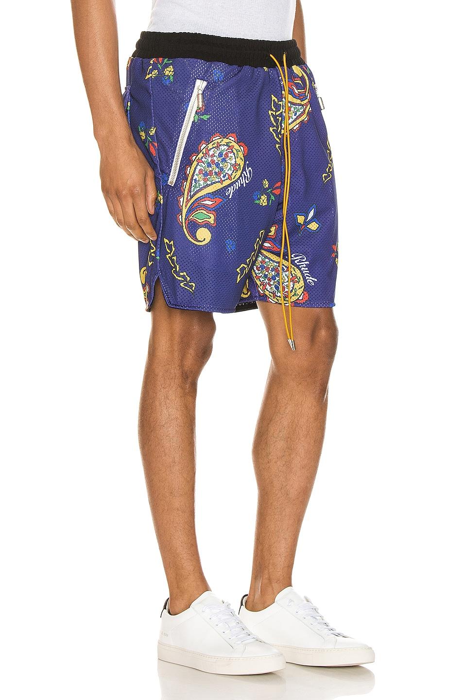 Image 2 of Rhude Bandana BBall Shorts in Blue