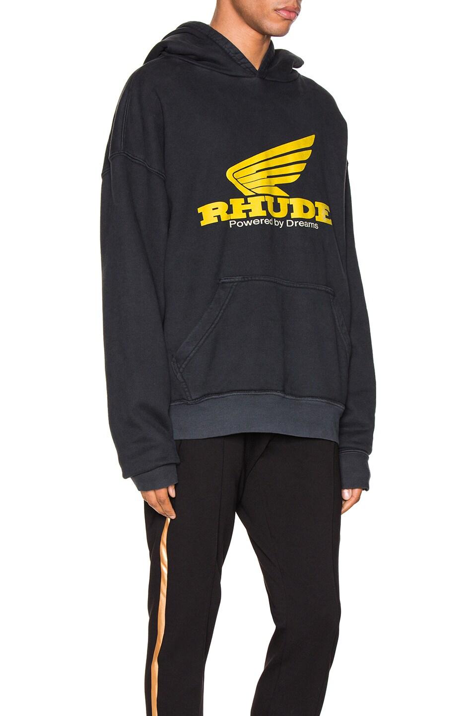 Image 2 of Rhude Yellow Rhonda Hoodie in Black