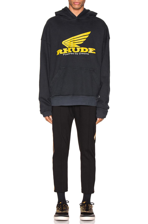 Image 4 of Rhude Yellow Rhonda Hoodie in Black
