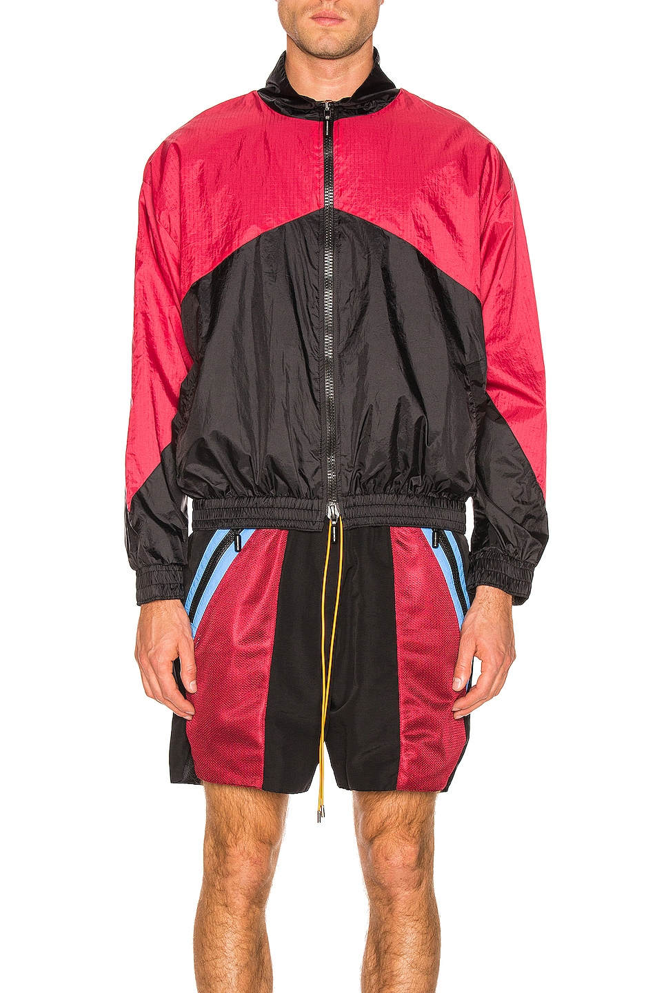 Image 3 of Rhude Flight Jacket in Black & Red