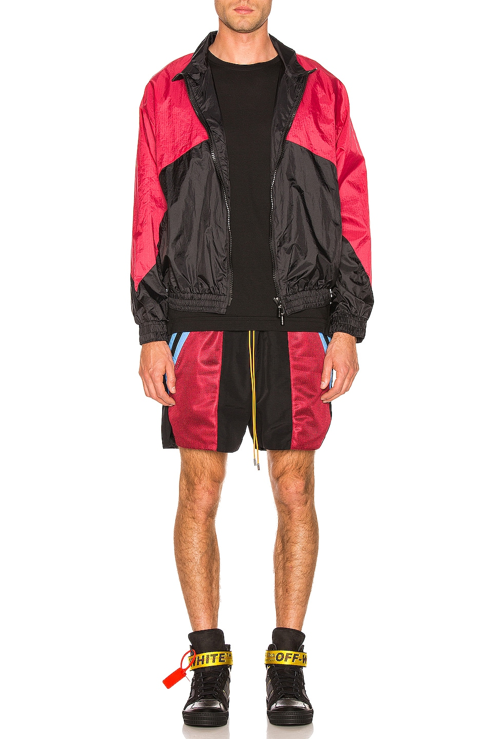 Image 6 of Rhude Flight Jacket in Black & Red