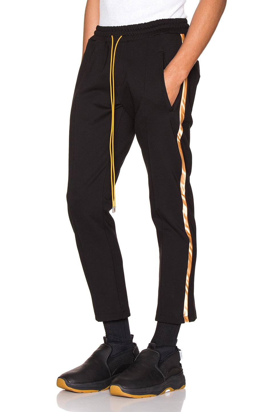 Image 1 of Rhude Traxedo Pant in Black & Gold