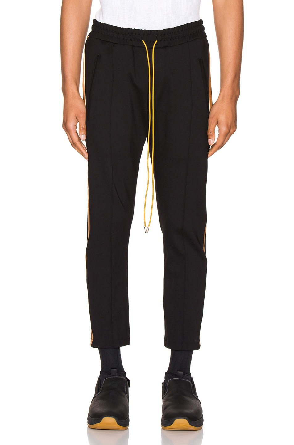 Image 2 of Rhude Traxedo Pant in Black & Gold