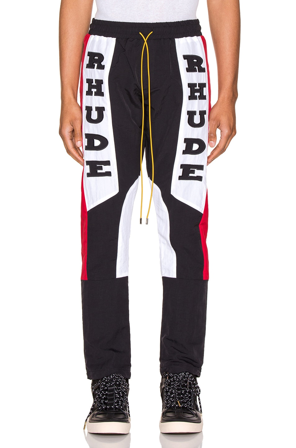 Image 1 of Rhude Rhacing Pant in Black & White & Red
